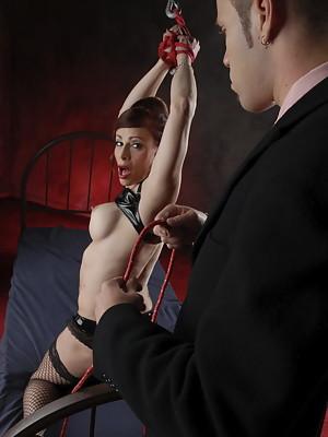 Bondaged Jasmine Jewels forced to suck cock